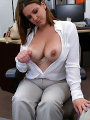 Big-titted office slut takes hot facial..