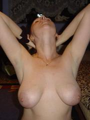 Shaved wife with big natural breasts..
