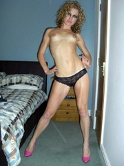 Skinny blonde wife shows her hot body