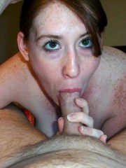 Freckled wife poses naked and sucks cock