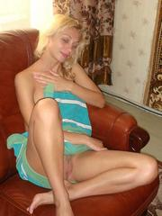Good looking blonde wife naked in the..