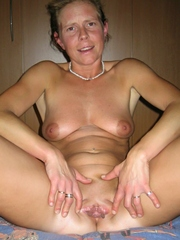 Older shaved wife touching her hairless..
