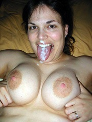 Facialized wife shows her big natural..