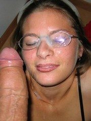 Cum all over the face and on glasses