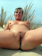 Exhib at the public beach nude in the..